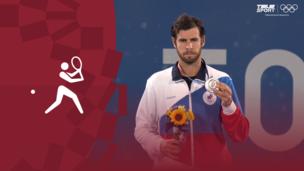 Церемония награждения. Теннис (муж). Александр Зверев (Германия). Карен Хачанов (ОКР). Пабло Карреньо-Буста (Испания). Олимпиада-2020. Видео