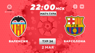 Валенсия — Барселона. Ла Лига. 34 тур