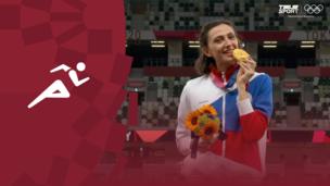 Церемония награждения. Легкая атлетика (жен). Прыжки в высоту. Мария Ласицкене (ОКР). Никола Макдермот (Австралия). Ярослава Магучих (Украина). Олимпиада-2020. Видео