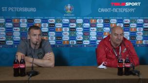 Пресс-конференция Станислава Черчесова и Артема Дзюбы перед матчем со сборной Бельгии