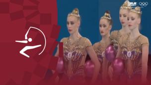 Олимпиада-2020. Художественная гимнастика (жен). Групповое многоборье. Финал. Мяч. Команда (ОКР). Полное видео
