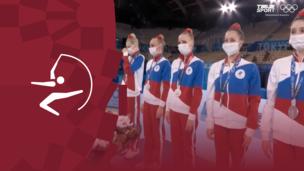 Церемония награждения. Художественная гимнастика (жен). Групповое многоборье. Болгария. Команда (ОКР). Италия. Олимпиада-2020. Видео